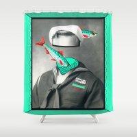 marine Shower Curtains featuring Sardine marine by AmDuf