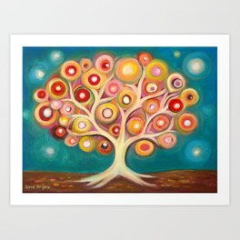 Tree of life with colorful abstract circles Art Print