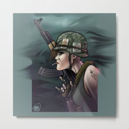 AK47 Soldier Girl Metal Print