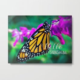 """Hello sunshine"" orange monarch butterfly close-up photo Metal Print"