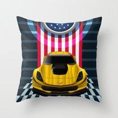 The Yellow King Corvette C7 Throw Pillow