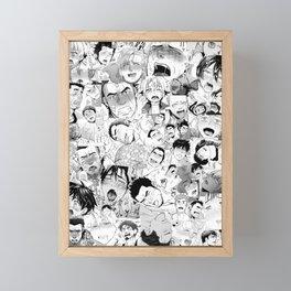 Ahegao Hentai Manga Guys Collage in B&W (Bara/Doujinshi) Framed Mini Art Print