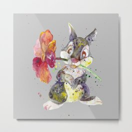 Bunny With flower Metal Print