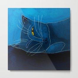 Sleeping Cat Abstract Digital Painting Metal Print