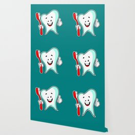 Dental Care happy Tooth with Toothbush Wallpaper