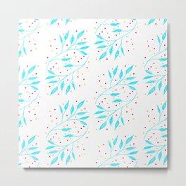 blue leaves pattern Metal Print