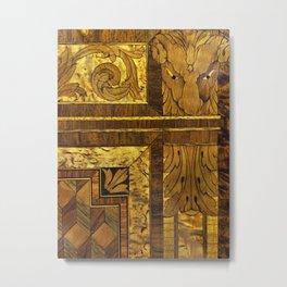 Wood Inlay Metal Print