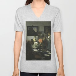 Stolen Art - The Concert by Johannes Vermeer Unisex V-Neck