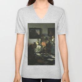 Stolen Art - The Concert by Johannes Vermeer Unisex V-Neck