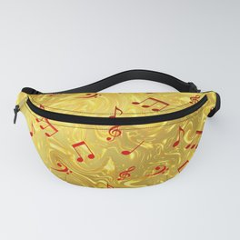red music notes in golden festive paper background Fanny Pack