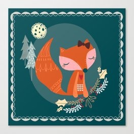 Fox Folk Art Canvas Print