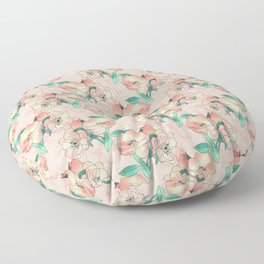 Pretty Watercolor Pink Peach Floral Girly Design Floor Pillow