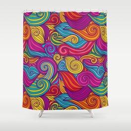 Vivid Whimsical Jewel Tone Retro Wave Print Pattern Shower Curtain