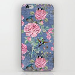 Vintage Watercolor hummingbird and English Roses on blue Background iPhone Skin