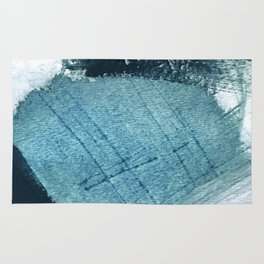 Pacific: a minimal abstract mixed media piece in blues and white Rug