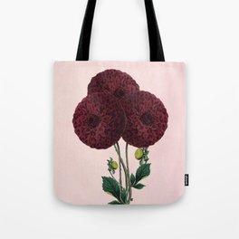 Dark red burnet flower on pink Tote Bag