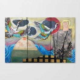 Crane triptych Canvas Print