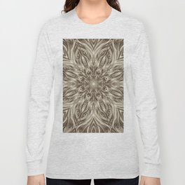 off white sepia swirl mandala Long Sleeve T-shirt