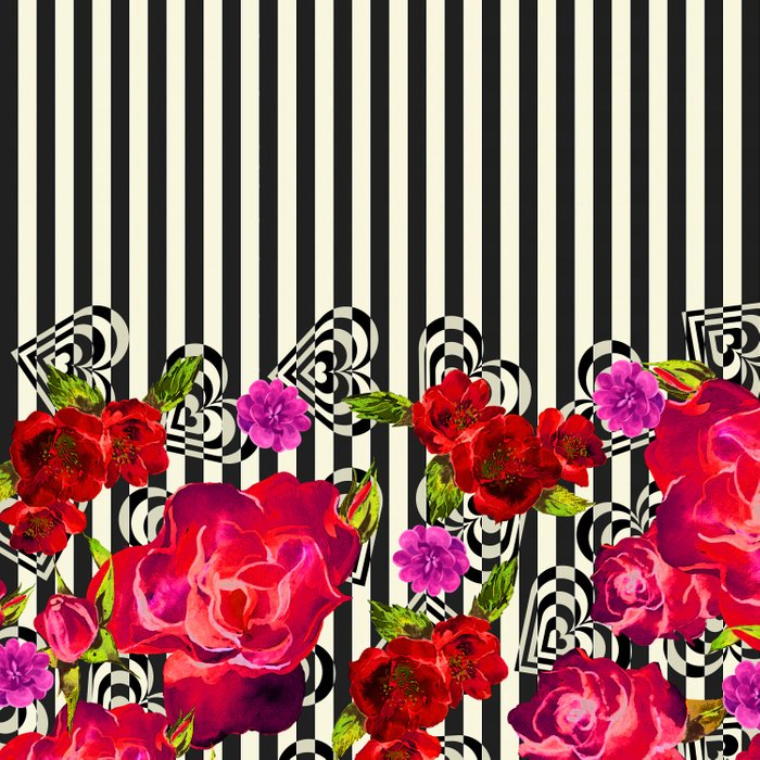 Flowers with Stripes and Hearts Comforters
