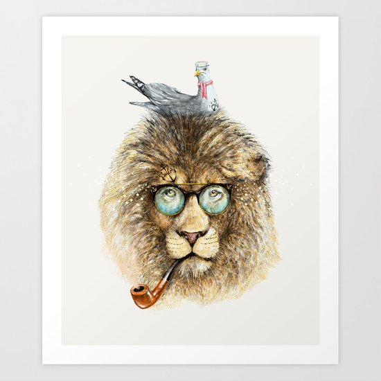 Lion sailor & seagull Art Print