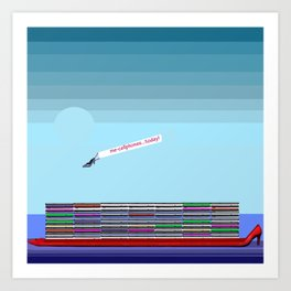 The Long Boat Taking Cellphones for May in May Art Print