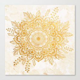 Queen Starring of Mandala-Gold Sunflower II Canvas Print
