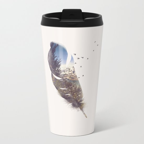 Feather Metal Travel Mug