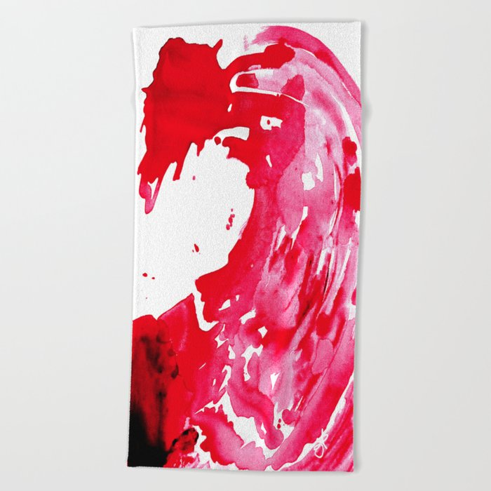 The One Who Came by Water and Blood. Watercolor Red Wave Beach Towel