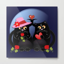 Cats in Love Metal Print