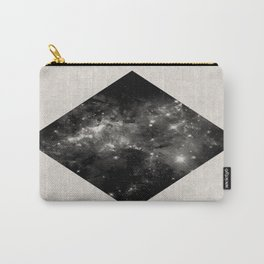 Space Diamond - Abstract, geometric space scene in black and white Carry-All Pouch