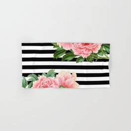Pink Peonies Black Stripes Hand & Bath Towel