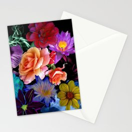 Colorful Fractal Flowers Stationery Cards