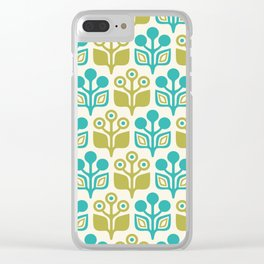 Mid Century Garden Flower Pattern Turquoise Chartreuse Clear iPhone Case