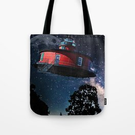 Retro Flying Saucer, UFO, Extraterrestrial Craft, Red Tote Bag