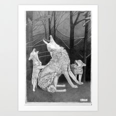 Howling Practice  Art Print