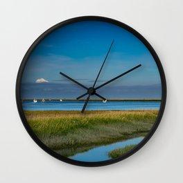 Kenai Dock/Boat Ramp with Mt._Redoubt - Alaska Wall Clock