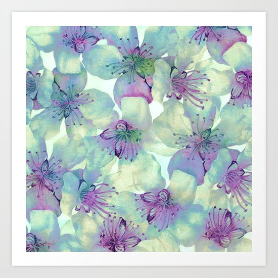 soft floral with purple Art Print