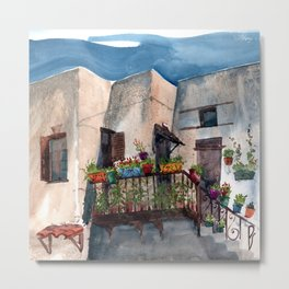 Herbs and blossom on Rhodian balcony Metal Print