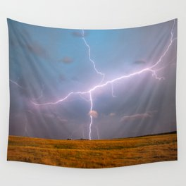 Electric Sky - Lightning Spans Entire Sky in Southern Oklahoma Wall Tapestry