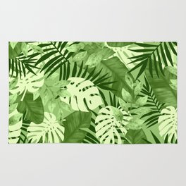 Green Tropical Leaves Pattern Rug