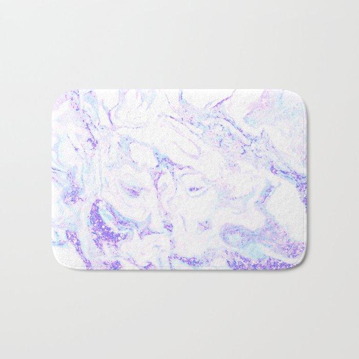 Pastel Marble Purple Blue Glitter Bath Mat