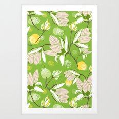 Magnolia Blossom Greenery Art Print