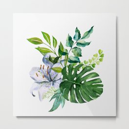 Flower and Leaves Metal Print