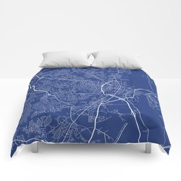 Fayetteville Map, USA - Blue Comforters
