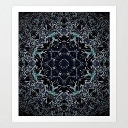 Dark Mandala Snow Flake Art Print