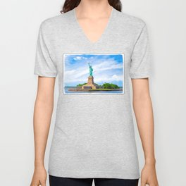 Landmark Statue Of Liberty On The Waters Of New York Harbor Unisex V-Neck