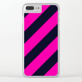 Black and Dark Pink Stripes Clear iPhone Case