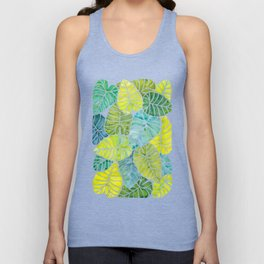 Tropical Leaves Alocasia Elephant Ear Plant Blue Green Unisex Tank Top