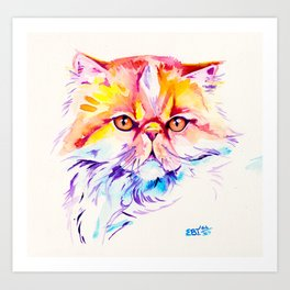 Persian Cat Watercolor Painting Art Print