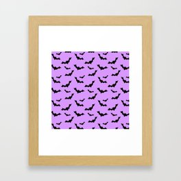 Black Bat Pattern on Purple Framed Art Print